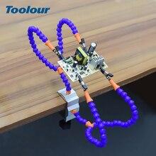 Toolour Herramienta de tercera mano para soldar, soporte de estación de soldadura con brazos flexibles, 4 Uds. Para reparación de soldadura PCB