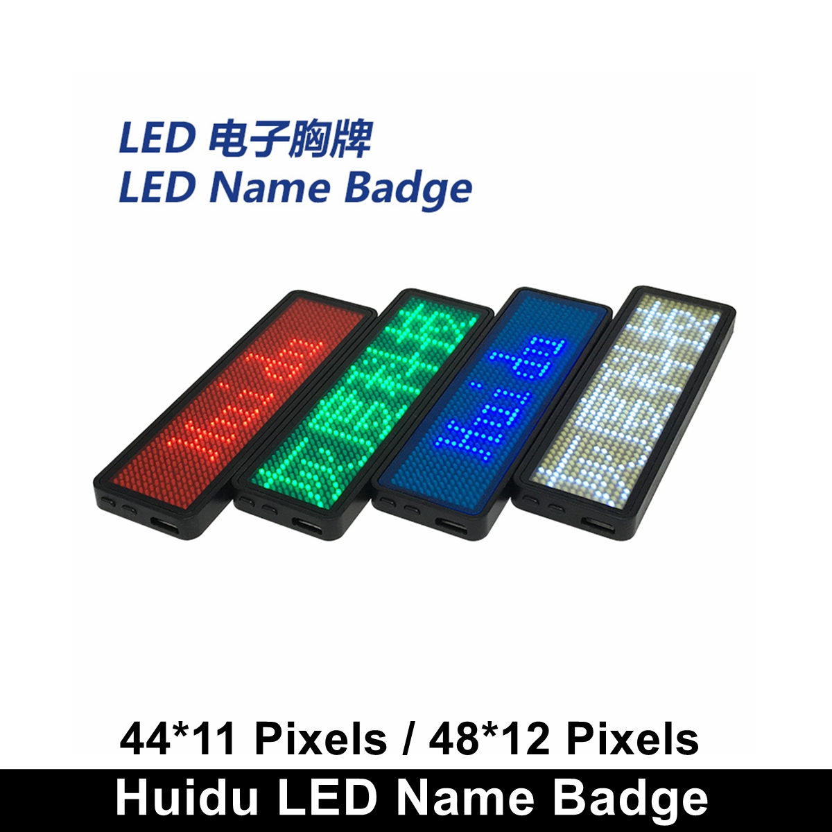 White Color Huidu Led Name Board / Badge Sign,White Rechargeable Business Name Card Advetising Led Message Tag