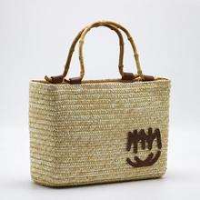 Summer Bamboo Top Handle Women Handbag Bohemia Straw Woven Shoulder Bag Women