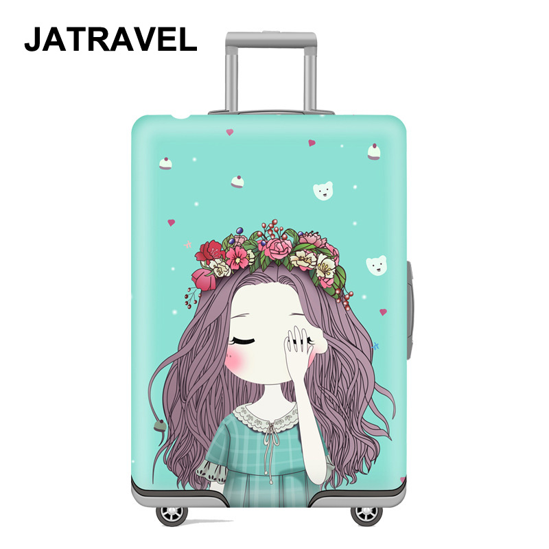 JATRAVEL Little Girl Travel Luggage Protective Cover Suitcase Case Travel Accessorie Elastic Luggage Cover Apply To 18-32inch S