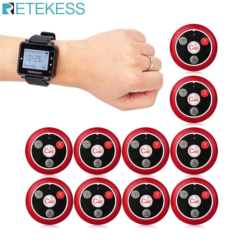 Retekess restaurante pager hookah chamada garçom sistema de chamada sem fio t128 relógio receptor + 10 pçs t117 botões chamada para bar café