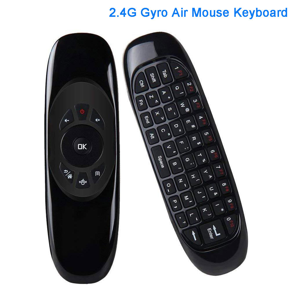 C120 6 Axes Gyroscope 2.4G Air Mouse Wireless Keyboard Mouse Remote Control Voice Control for TV BOX Computer English Version