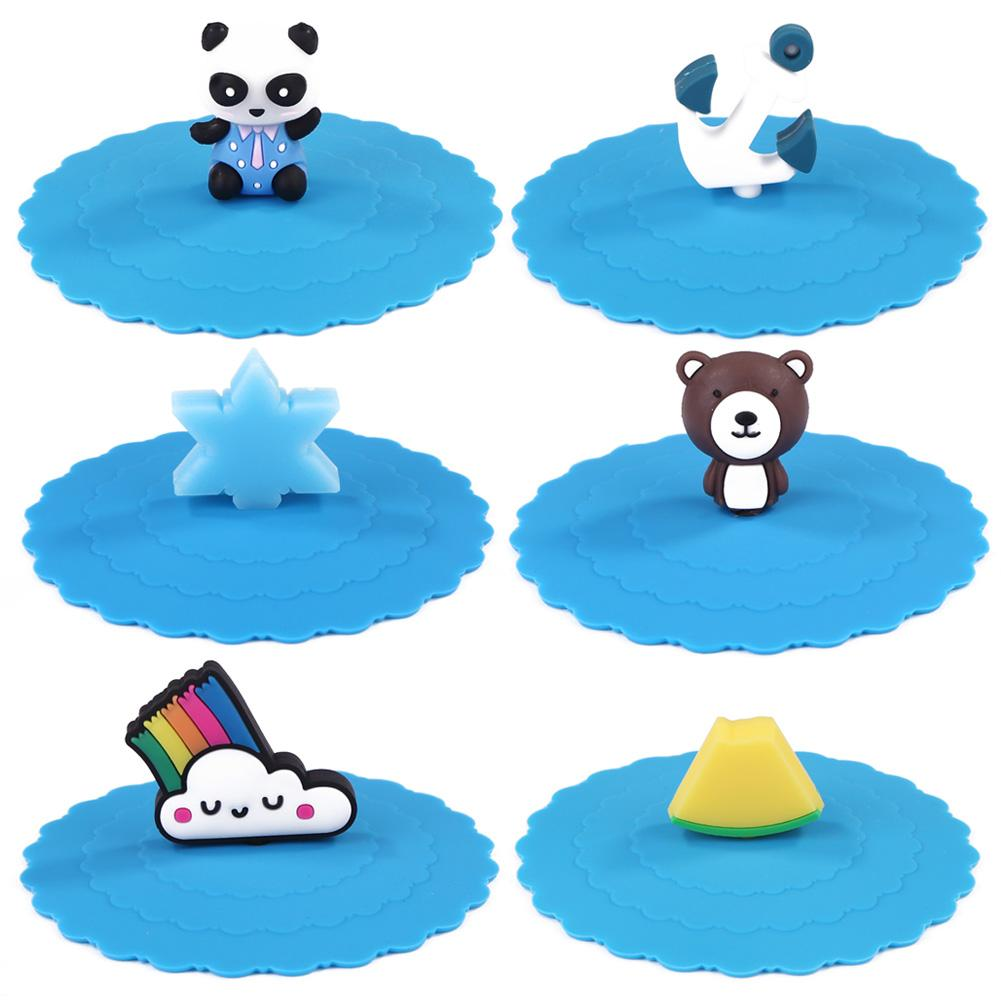 Environment-Friendly Heat Security Non-toxic Invariant Easy To Carry Resistant Blue Silicone Creative Cartoon Cup Caps