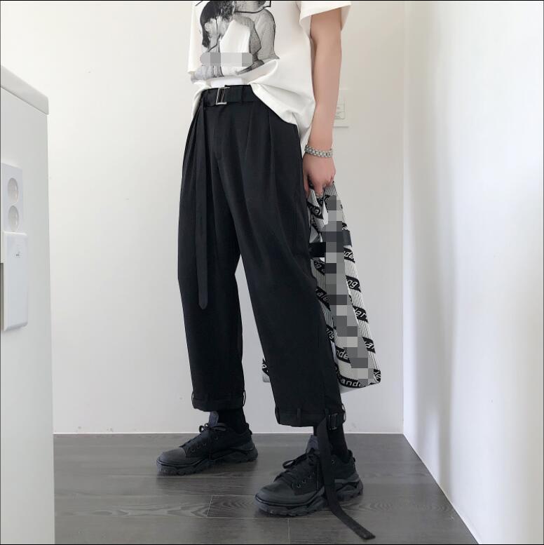 S-6XL!!Black Men's Pants Nine Casual Korean Version Of The Joker Trend Loose Men Spring And Summer Thin