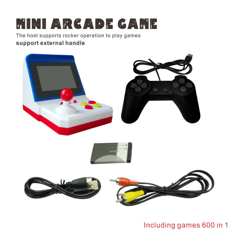 Retro Mini Arcade FC Red White Handheld SUP Rocker Game Console Built-in 600 Games