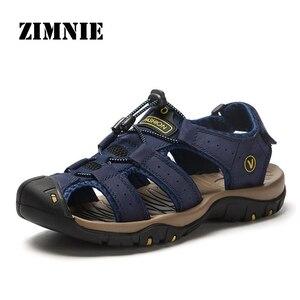 Мужские сандалии из натуральной кожи ZIMNIE, коричневые повседневные сандалии, Слиперы, большие размеры 38-48, лето 2019