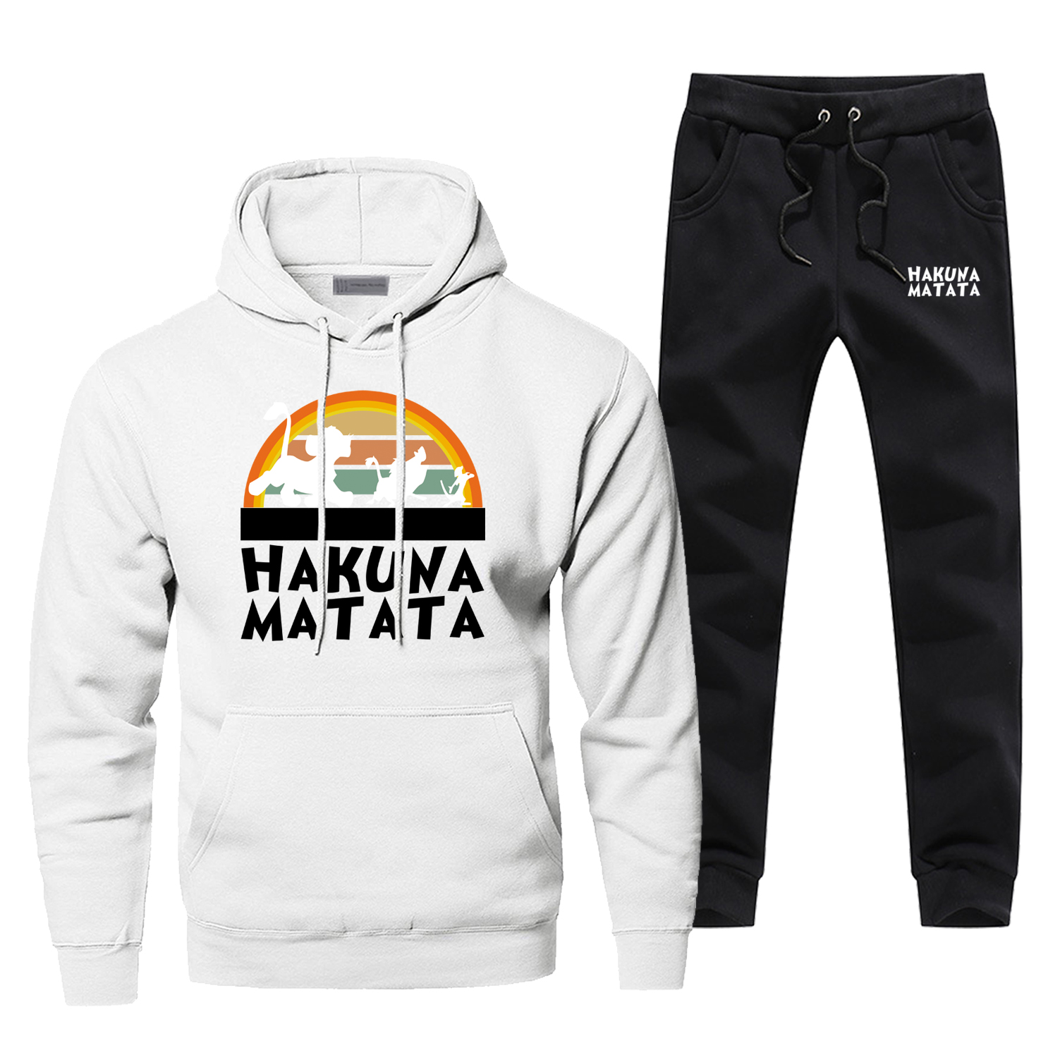 Men The Lion King Hoodie Male Pants Set Sweatshirt Hakuna Matata Mens Hoodies Sweatshirts Sets Two Piece Pant Pullover 2Pcs Coat