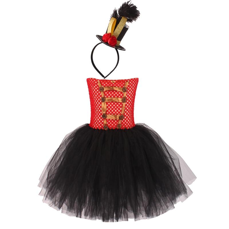 Carnival Circus Ringmaster Tutu Dress with Headband Girls Birthday Party Fancy Dress Lion Tamer Halloween Cosplay Costume (11)