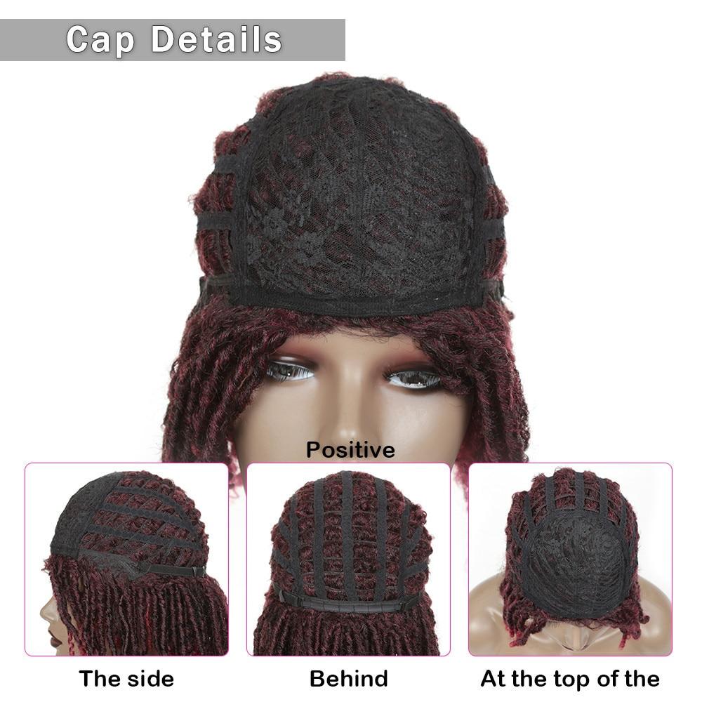 Image 5 - 14inch Short Wigs for Black Women Synthetic Dreadlocs Hair Wig Ombre Black Bug Crochet Braid Wigs Heat Resistant Golden BeautySynthetic None-Lace  Wigs   -