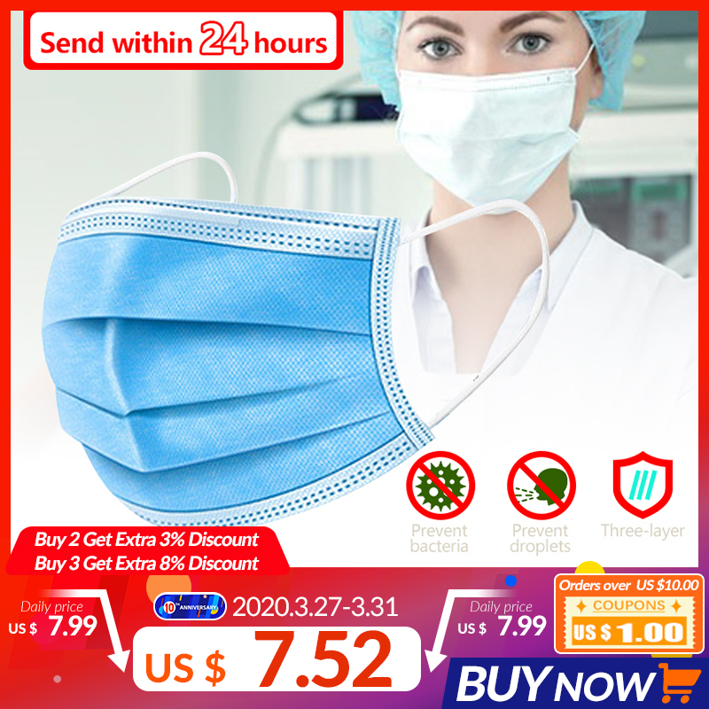 10/20/30/50pcs 3 Layer Disposable Earloop Face Mouth Masks Anti-Pollution Filtration Masks Facial Anti-Dust Protective Cover