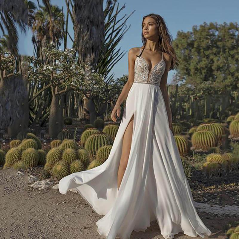 Smileven Boho Wedding Dress Sexy Side Slit Beach Bride Dress Spaghetti Straps Weeding Gowns Vestido De Noiv