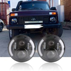 "Image 1 - 2pcs 7Inch LED Headlamps with Halo Ring Amber Turn Signal For lada niva 4x4 suzuki samurai 7"" DRL Halo Headlights For VAZ 2101"