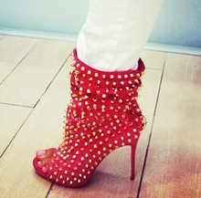 Rivet Decor Peep Toe Ankle Bootie Woman Runway Bling Newest Short Boots Customized Red Black White Studded Female Shoes