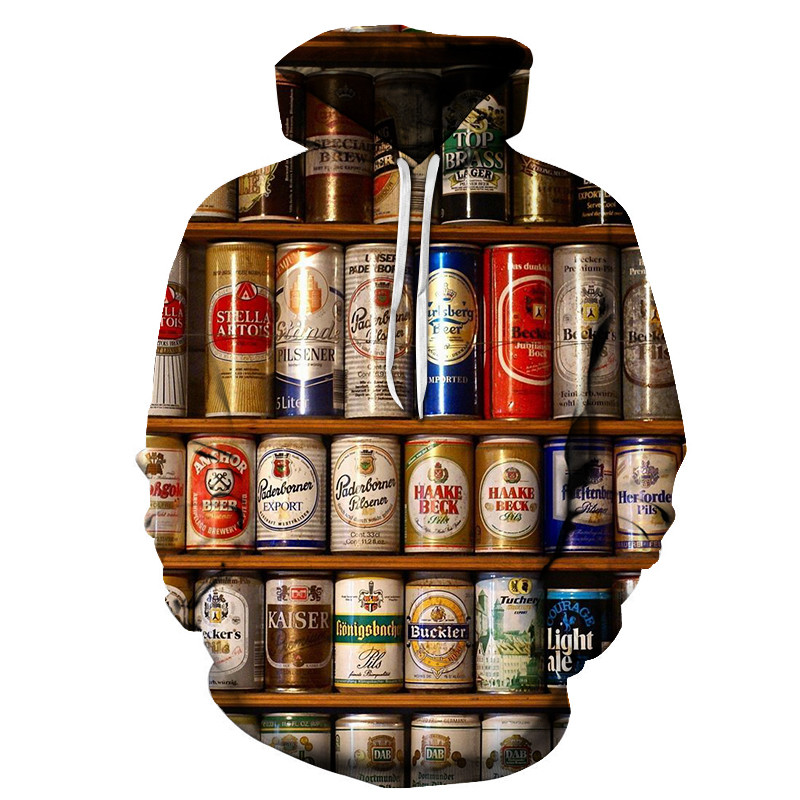 Men's Fashion 3D Beer Print Hoodie Novelty Wei Clothes Hooded Sweatshirt Yellow Autumn Long Sleeve Pullover Top S-6XL