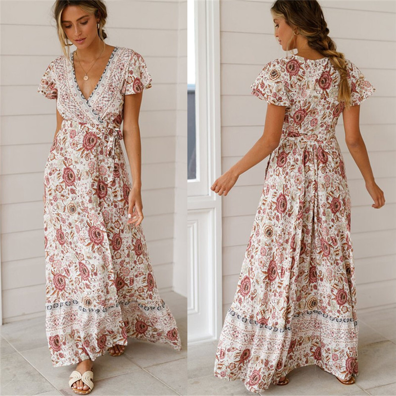 Sexy Holiday Long Dress Women's Boho Dresses Lady Boho Floral V-neck Long Maxi Dress Summer Beachwear Sundress