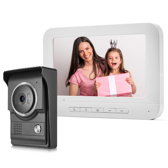 7 بوصة السلكية جرس باب يتضمن شاشة عرض فيديو إنترفون كاميرا غير نافذ للمطر البصرية نظام اتصال داخلي فيديو باب الهاتف شحن مجاني