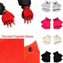 Fingerless-Gloves Mittens Guantes Half-Finger Winter Soft Women New Adult Unisex Striped