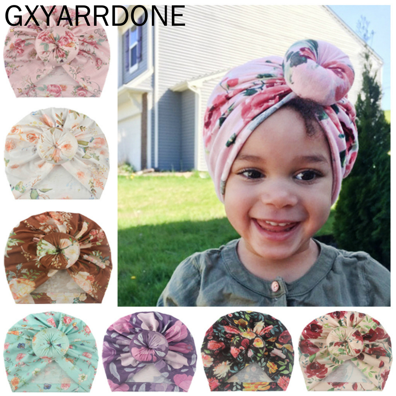 2020 New Children's Knotted Floral Print Pullover Hat Indian Hat India Style Kids Newborn Round Donut Cap For Baby Girls Boys