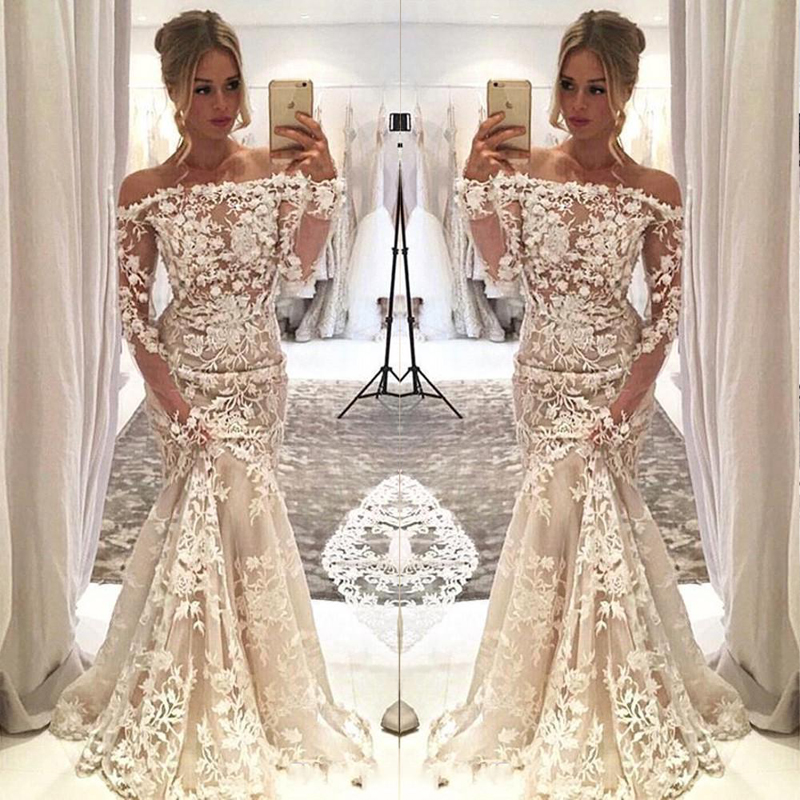 2020 New Classic Design Mermaid Wedding Dress Off The Shoulder Lace Appliques Flowers Illusion Long Sleeve Bridal Gown Customize