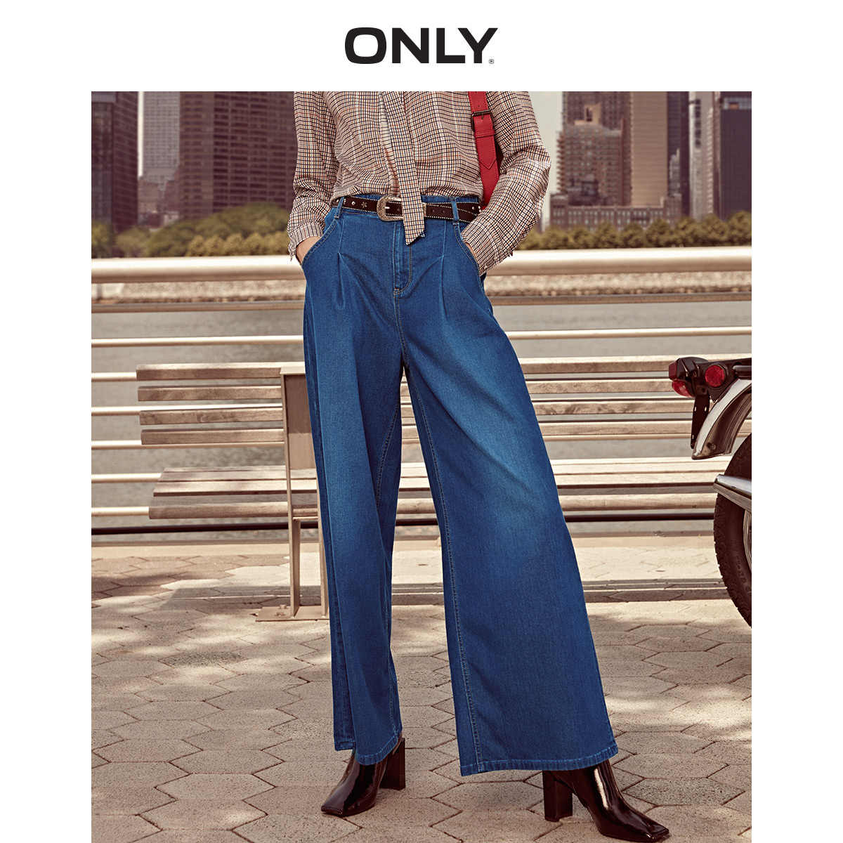 فقط المرأة الصيف جديد ريترو عالية الخصر فضفاض واسعة الساق جينز غير رسمي   118332510