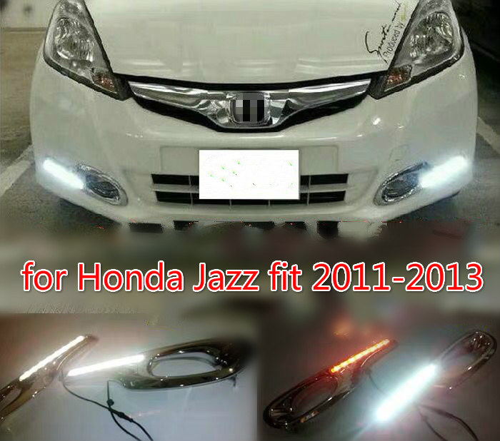 Car LED Daytime Running Lights for Honda Jazz fit 2011 2012 2013 DRL Fog lamp driving lights with Yellow turning signal lights