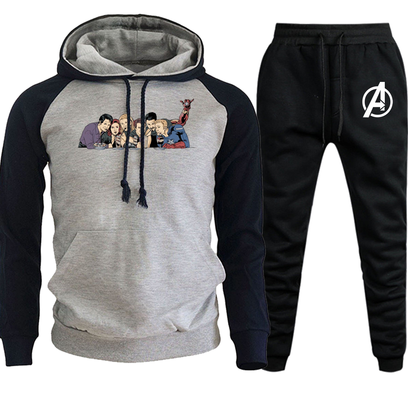The Avengers Sweatshirts Mens Raglan Hoody Funny Printed New Autumn Winter Hip Hop Pullover Suit Male Hooded+Pants 2 Piece Set