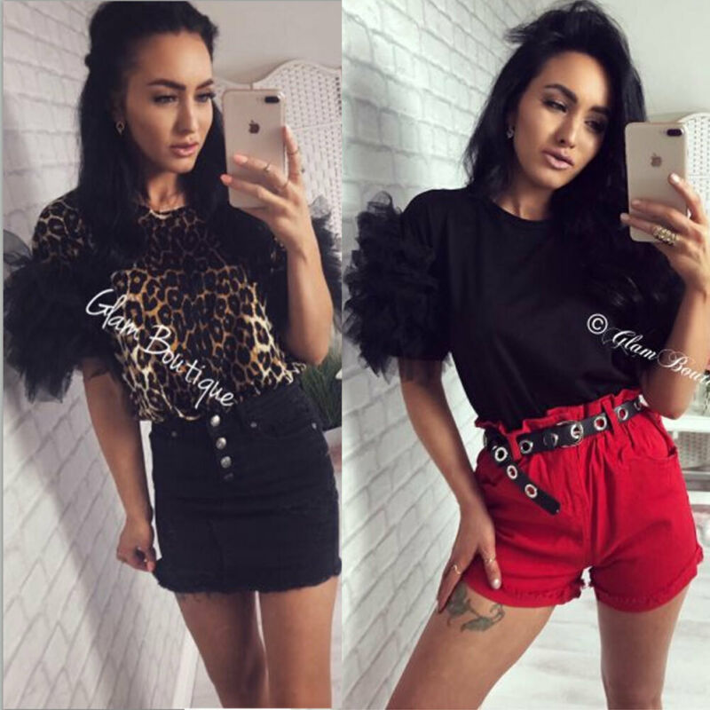Women Summer Tulle Ruffle Short Sleeve   T     Shirt   Ladies Loose Casual Round Collar Leopard Print Tops   T     shirt   New