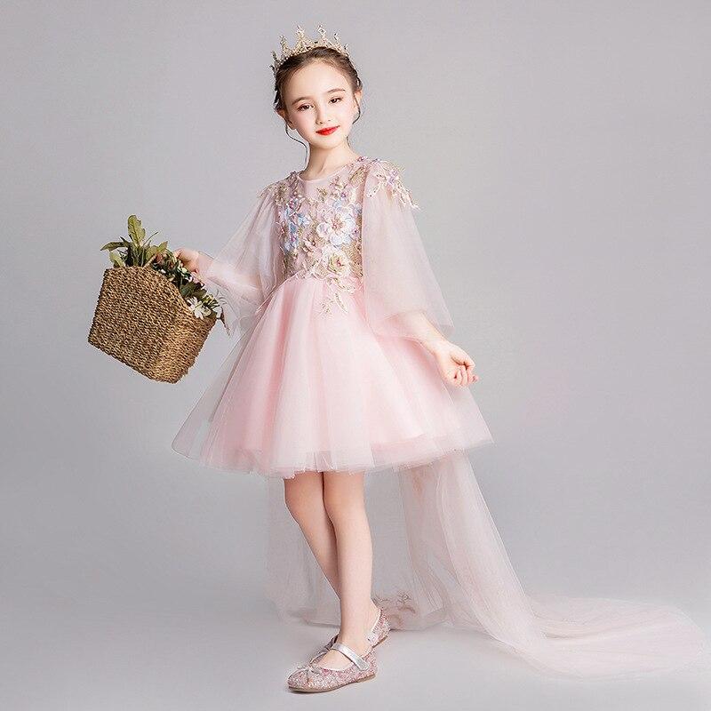 Girls Pink Host Western Style Princess Dress Flower Boys/Flower Girls Puffy Yarn Children Catwalks Evening Gown GIRL'S Costume S