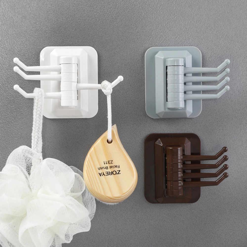 Rotativo de 4 ganchos de cocina estante de pared para baño organizador de toallero sin tornillo sostenedor de llave colgador de ganchos de pared ventosa