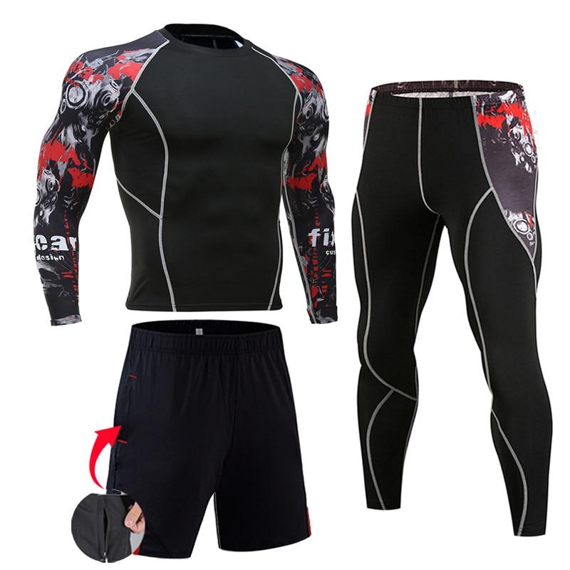 גברים של דחיסת ספורט חליפות חדר כושר גרביונים בגדי אימון אימון ריצה ספורט סט ריצה Rashguard אימונית לגברים