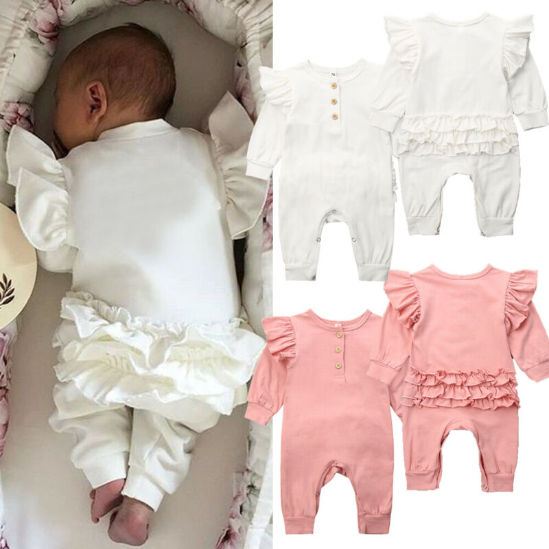2019 Newborn <font><b>Baby</b></font> Girls long sleeve Solid Romper <font><b>Clothes</b></font> Ruffle One-Piece Romper Jumpsuit Cotton Outfits Autumn Winter Top 0-18M image