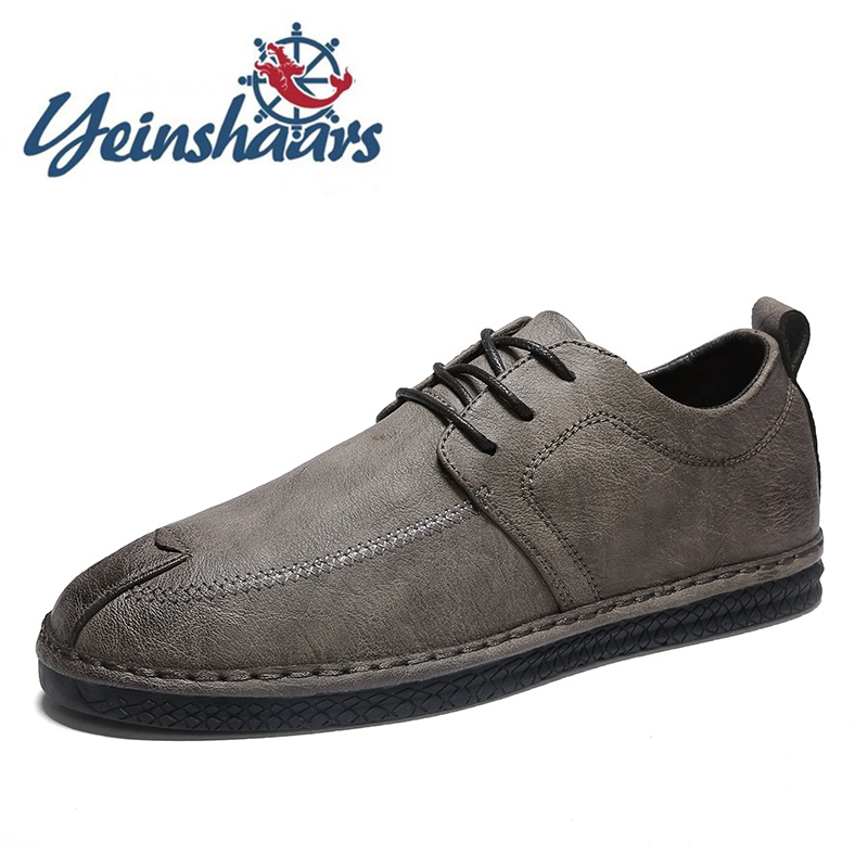 Mens Shoes Casual Leather Oxford Lace-up Solid Classic Bureau Formal Shoes Elegant Vintage Non-Slip Business Shoes Herren Schuhe image