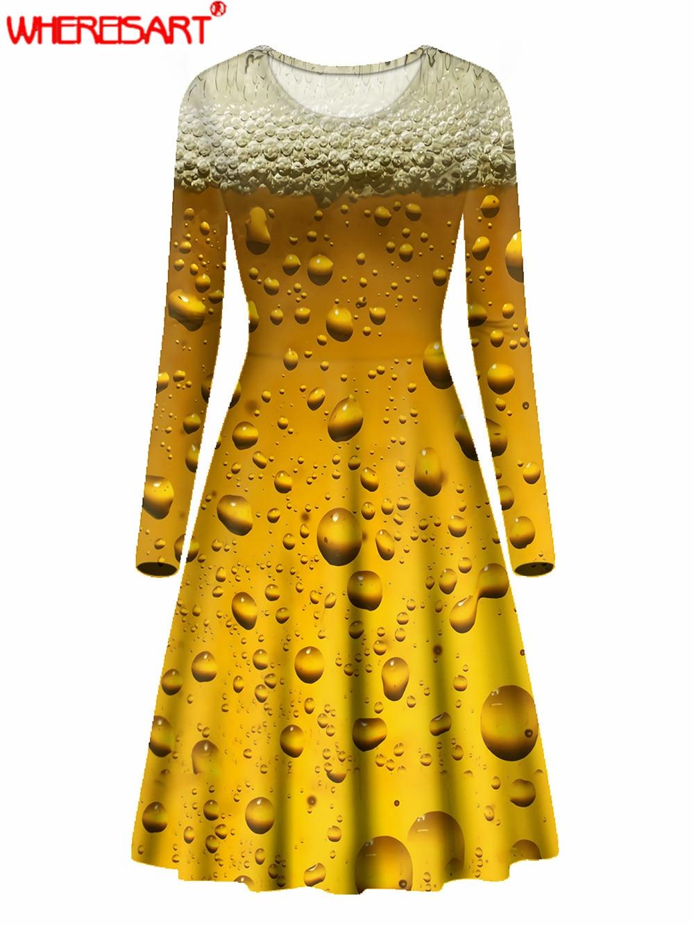 WHEREISART пива на 3D печатных размера плюс с длинным рукавом платье элегантное платье в стиле ретро для женщин с О-образным вырезом осенние высок...