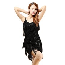 Sexy Vintage 1920s Great Gatsby Dress Tiered Fringe Flapper Evening Party Latin Dancing Fancy Costumes C-Neck Sequin