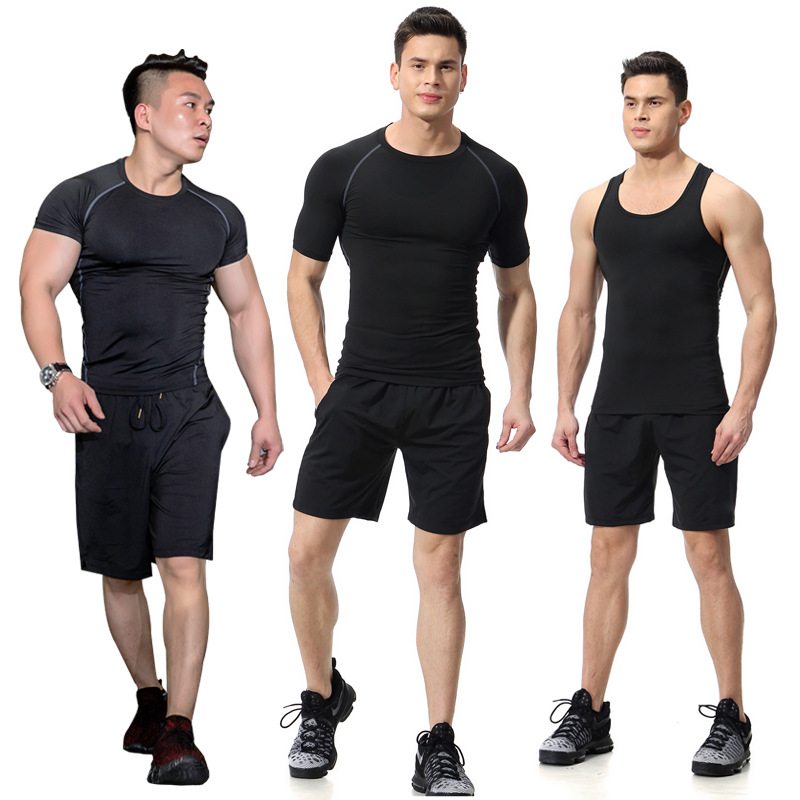 Men Sports Suit Men T-shirt Tracksuit Shorts Men Sportswear Rashgard Man Running T Shirt Gym Wear Quick Dry Fitness Top Gym