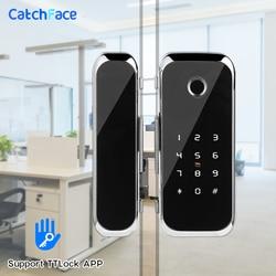 TTlock التطبيق بصمة قفل ذكي WiFi التحكم عن بعد مع IC بطاقة كلمة ل باب من الزجاج بدون إطار دفع أو انزلاق الباب