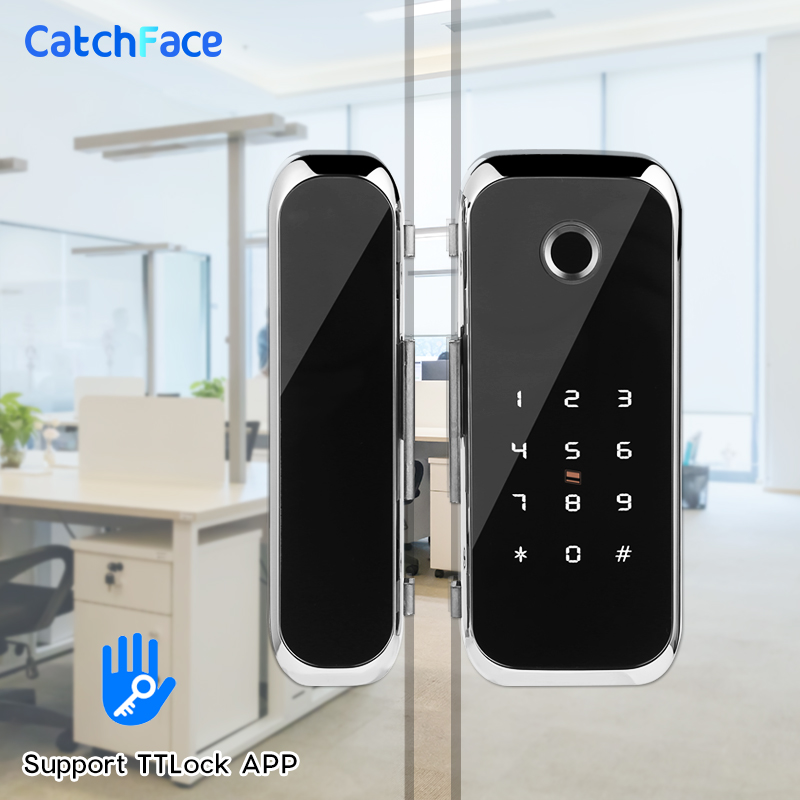 TTlock APP Fingerprint Smart  Lock   WiFi Remote Control With IC Card Password For Frameless Glass Door Push Or Sliding Door