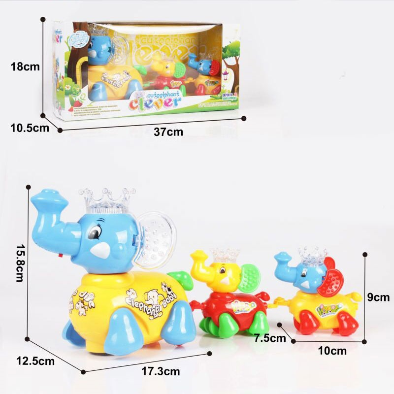 New Style Electric Universal Elephant Music Shining Educational Cartoon Drag Elephant Flash Toy Stall Hot Selling