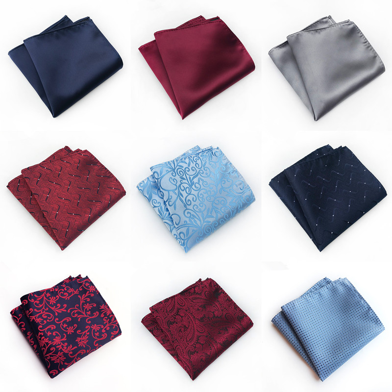 Solid Paisley Floral Print Mens Silk Handkerchiefs Red Black Blue Gold Mens Business Wedding Pocket Square Suit Accessories A066