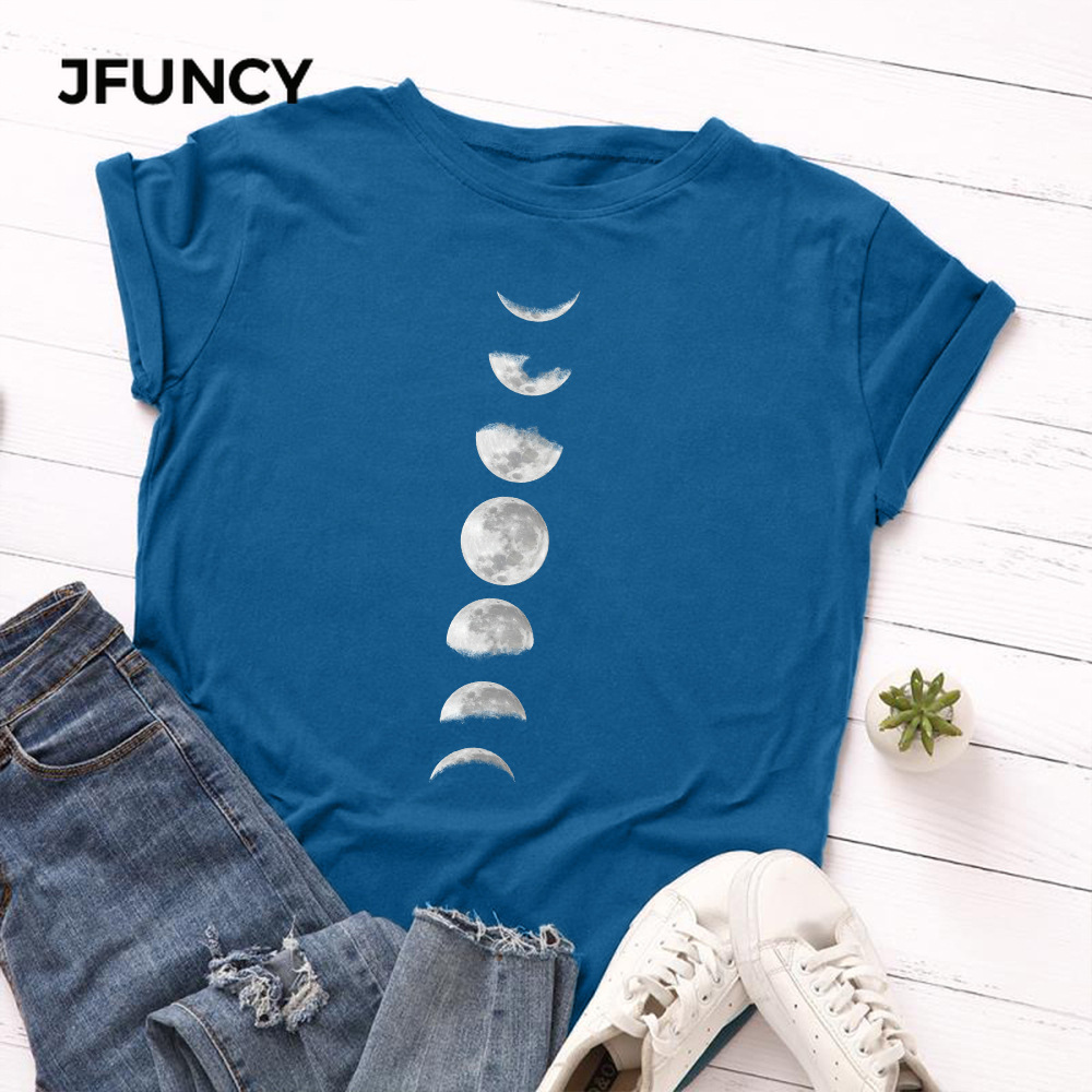 JFUNCY Plus Size Tshirt S-5XL New Moon Print T Shirt Women 100% Cotton O Neck Short Sleeve T-Shirt Tops Summer Casual Shirts