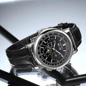 Image 3 - Часы мужские механические, автоматические часы с Лунной фазой из нержавеющей стали 316L