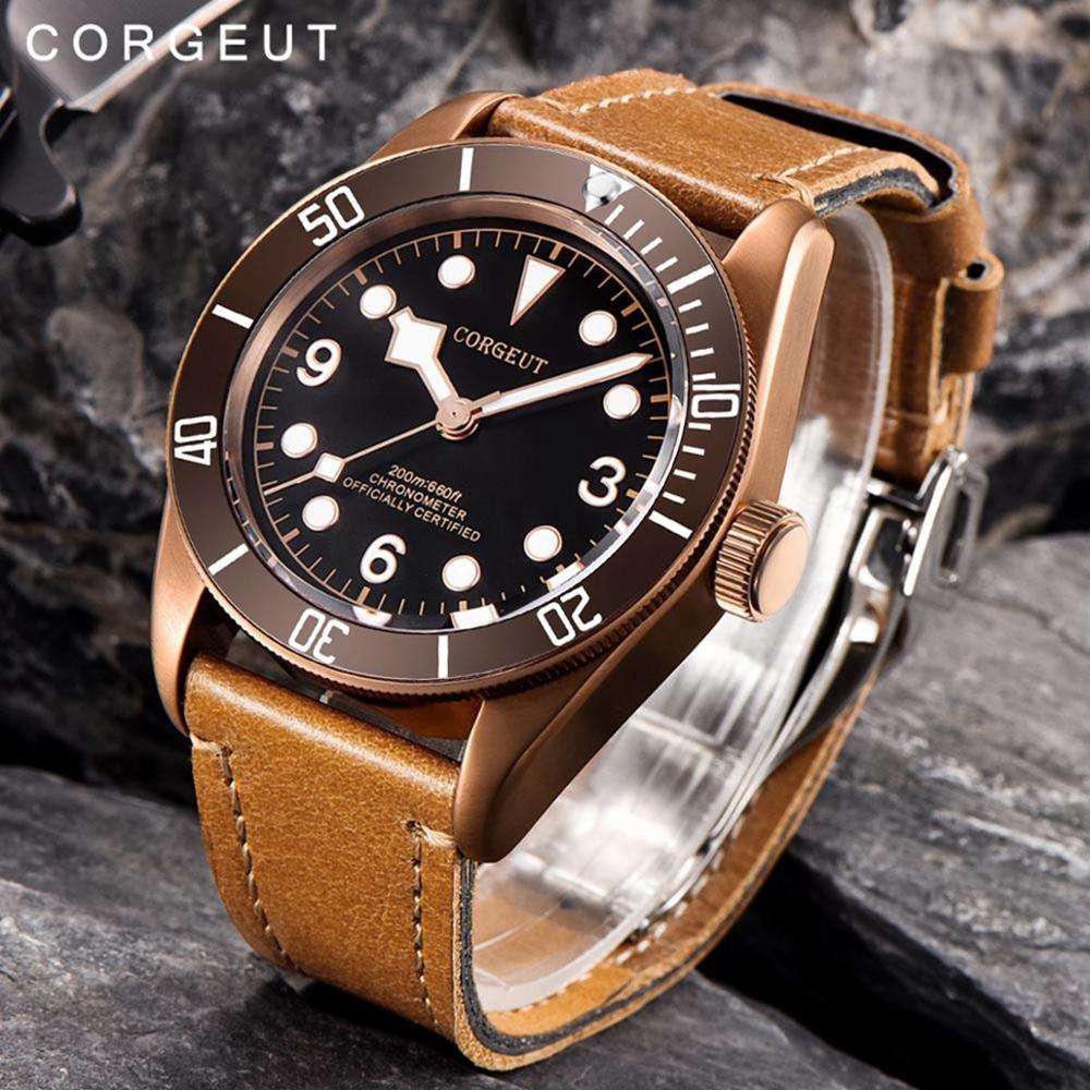 Reloj mecánico automático Corgeut de marca superior de lujo para hombre, caja de cristal de zafiro PVD, reloj deportivo militar, reloj de natación, relojes de pulsera de cuero-in Relojes deportivos from Relojes de pulsera    1
