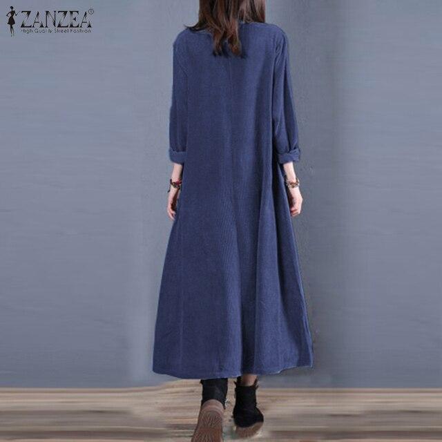 Plus Size ZANZEA Spring Long Cardigan Women Casual Solid Long Sleeve Work Denim Blue Shirt Vestido Blouse Outwear Coats Tunic 7 6