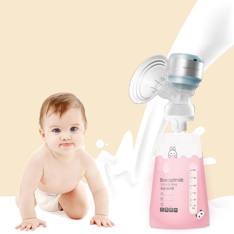 200ml Breast Milk Storage Freezer Bag Disposable Labels Safe Baby Food Storage GXMB