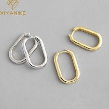 XIYANIKE-pendientes de plata de ley 925 con hebilla de oreja ovalada, joyería coreana, Oro Retro