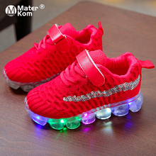 Size 21-30 Children Breathable Non-slip Sneakers Luminous Sneakers for Boys Girls Led Light Up Shoes Baby Glowing Casual Shoes cheap Mater Kom 13-24m 25-36m Mesh (Air mesh) CN(Origin) Four Seasons Lighted unisex LED Shoes Fits true to size take your normal size