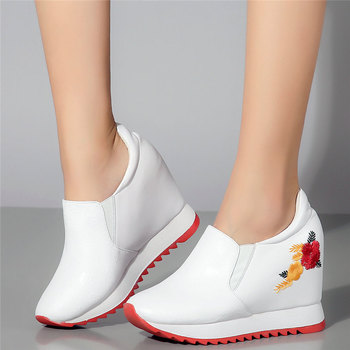2020 Slip On Trainers Women Genuine Leather Wedges High Heel Platform Pumps Shoes Female Round Toe Fashion Sneakers Casual Shoes