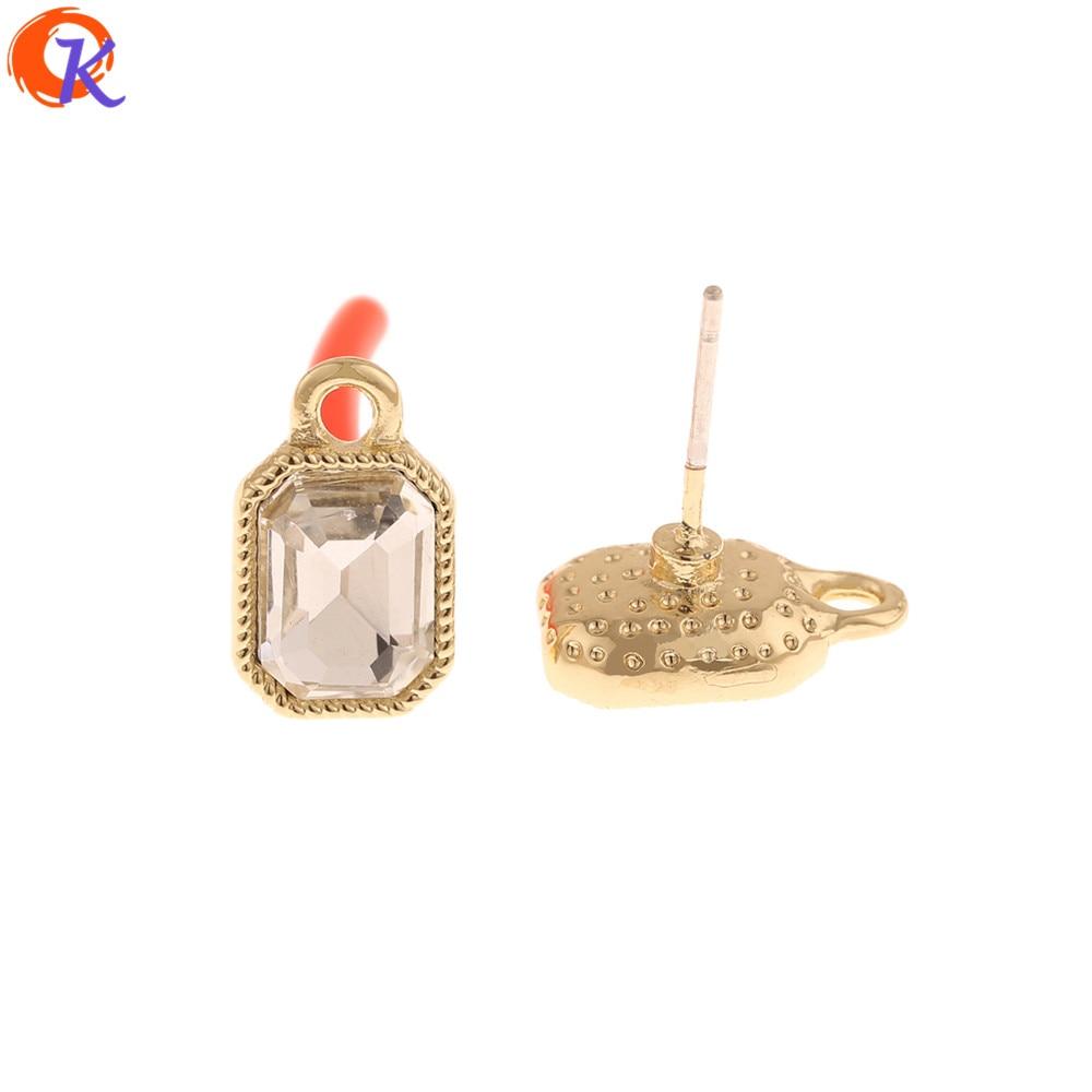 Cordial Design 100Pcs 8*13MM Rhinestone Earrings Stud/Jewelry Accessories/DIY Making/Geometry Shape/Hand Made/Earring Findings