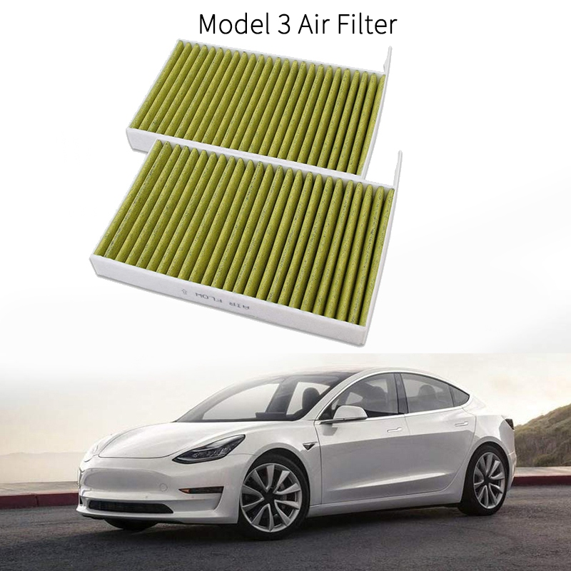 Premium Cabin Air Filter Replacement for Tesla Model 3 2017 2018 2019 Includes Activated Carbon (2 PCS)