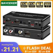 Мини 2x1 4k hdmi переключатель аудио экстрактор с дугой и оптическим